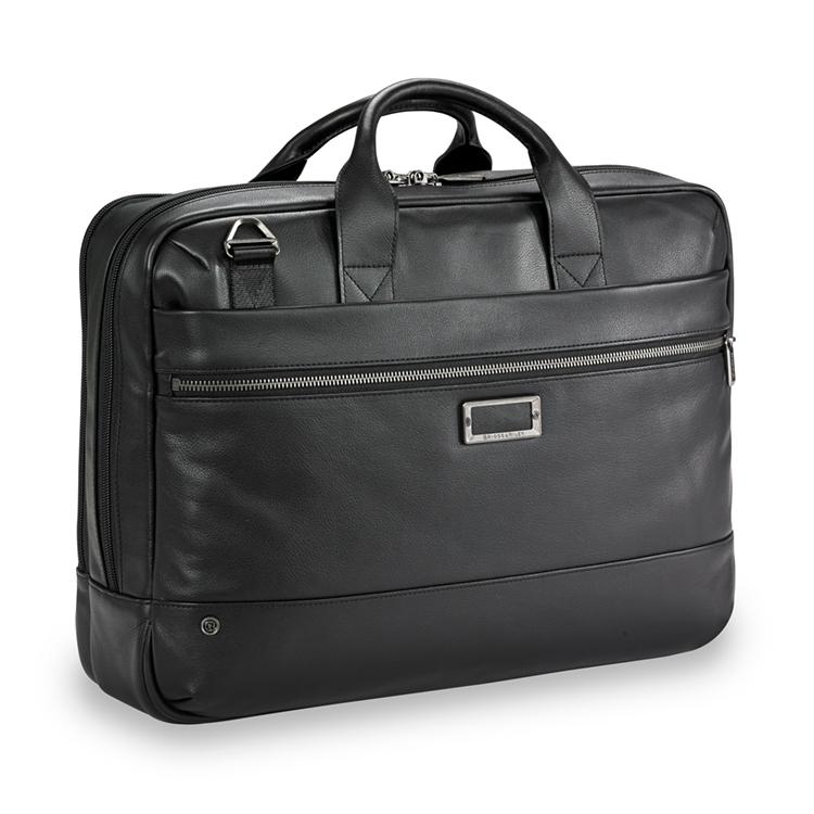 @Work Leather Medium Brief - Black
