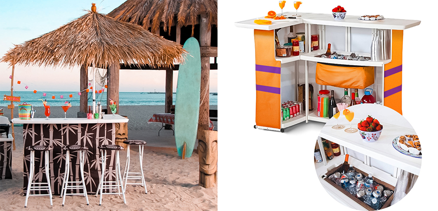 The Custom Pop-Up Bar is a complete solution with a 24-can cooler, 3-level shelving, and a UV-protected umbrella