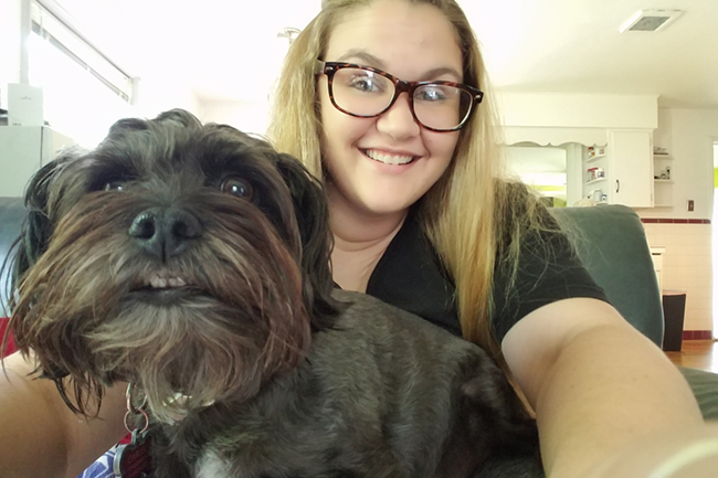"""Outside of work, Carlee enjoys cooking, fishing, and crafting, and she's a proud pet parent to """"the world's best dog Pepper."""""""