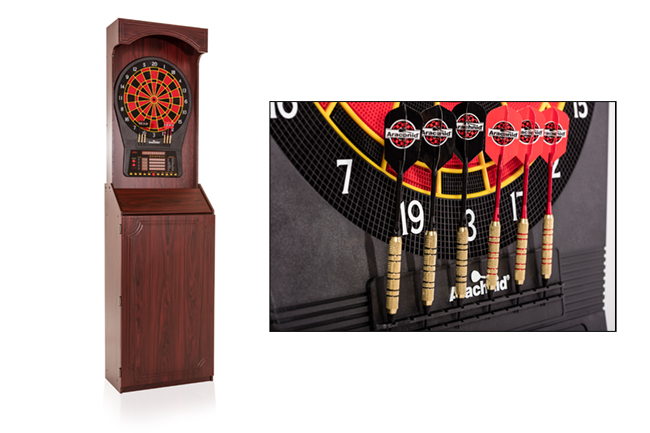The Arachnid Freestanding Electronic Dartboard Cabinet brings pool hall entertainment to any home game room