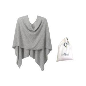 Cashmere Poncho - Gray w/ Dust Bag