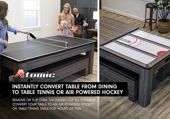 For luxury-level game rooms, Atomic's Northport 3-in-1 table is a sleek, multi-functional table that converts from a full-size air-powered hockey or table tennis table to a handsome dining room