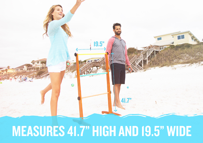 During days at the beach, challenge family and friends of all ages to classic Viva Sol games like the ultra-premium Ladderball Game