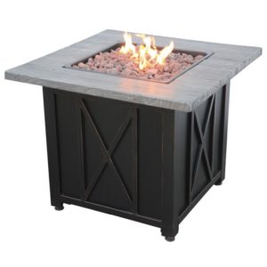 Endless Summer LP Gas Outdoor Fire Pit with Weathered Wood Grain Printed Mantel