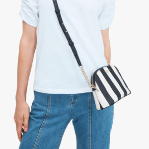 Spencer Stripe Small Dome Crossbody - Black Multi