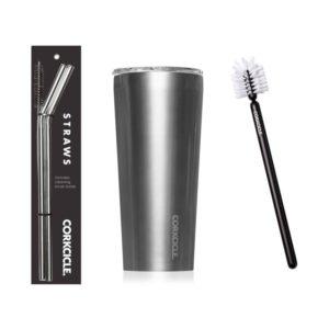 Corkcicle 24oz Tumbler w/Bottle Brush & Stainless Steel Tumbler Straws - Gunmetal