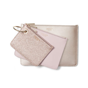 Metallic Leather Pouch Trio - Pink Champagne