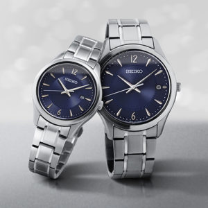 a handsome, sapphire crystal timepiece from Seiko's Essentials Collection