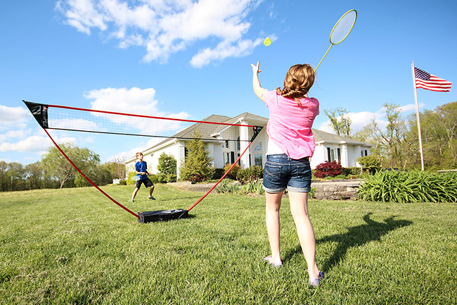 Later in the day, get small groups up and moving with the Zume Games Badminton Set from Escalade Sports